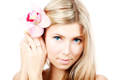 Flower in hairs Stock Images