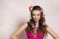 Flower hairstyle royalty free stock image