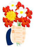 Flower in hand. Bouquet beautiful flower in hand of the person Stock Photo