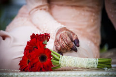 Flower and hand wearing henna Royalty Free Stock Photos