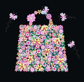 Flower handbag. Illustration of a colourful handbag full of flowers Royalty Free Stock Images