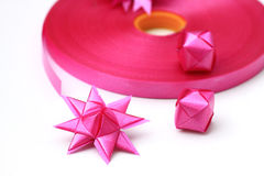Flower handmade from ribbon color pink Royalty Free Stock Images