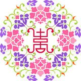 Flower and Happiness. Chinese Paper Cutting design of flower with chinese word Happiness in the center (Color Version Stock Photos