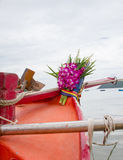 Flower on head boat. Thai people give flower on head boat for angel Stock Photography