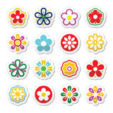 Flower head  icons set Royalty Free Stock Images
