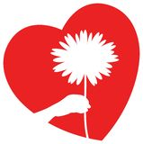 Flower with heart. Isolated line art design Stock Photography