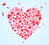 Flower heart. Heart from flowers and butterflies. A  illustration Royalty Free Stock Photos