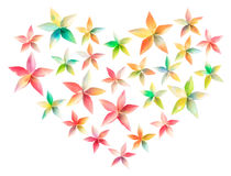 Flower heart. 25 colorful paper flowers arranged in a heart shape, isolated on a white background Stock Images