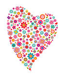 Flower heart. Colorful flower valentine heart design Stock Photography