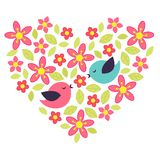 Flower heart. Birds in love with flower heart Stock Photography