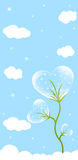 Flower heart. Transparent flower heart and clouds. Cool background for card Stock Photos
