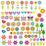 Flower, heart and animal collection Stock Photos