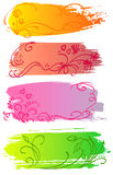 Flower and heart banners. Floral colorful banners with flower and heart Stock Image