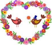 Flower Heart , Birds. Multicolored Flower Heart and Birds Stock Photo