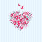 Flower heart with butterflies card. Love card with heart made of flower symbols with flying butterflies Royalty Free Stock Image