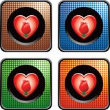 Flower and heart on checkered web buttons Royalty Free Stock Image