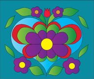 Flower heart color illustration Royalty Free Stock Photo
