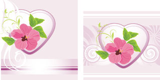 Flower with heart on the decorative background Royalty Free Stock Photography