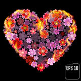 Flower heart in fire isolated on black background. Fire heart wi. Th flowers. 3d effect. Vector illustration Stock Images