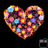 Flower heart in fire isolated on black background. Fire heart wi. Th flowers. 3d effect. Vector illustration Stock Photo