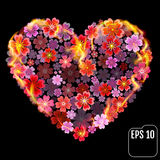 Flower heart in fire isolated on black background. Fire heart wi. Th flowers. 3d effect. Vector illustration Royalty Free Stock Photography