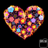 Flower heart in fire isolated on black background. Fire heart wi. Th flowers. 3d effect. Vector illustration Royalty Free Stock Photos