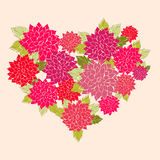 A flower Heart. A heart made from pink and red flowers Stock Photography