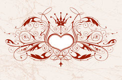 Flower and heart pattern. Drawing of flower pattern in a old paper Royalty Free Stock Photo