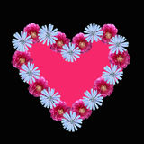 Flower heart with pink copy space, on black background Stock Photography