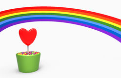 Flower heart and rainbow Stock Image