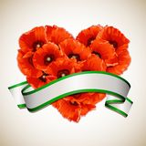 Flower heart of red poppies with ribbon. Royalty Free Stock Photo