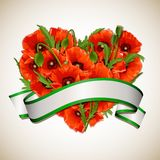 Flower heart of red poppies with ribbon. Stock Photography