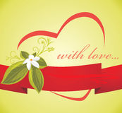 Flower with heart on the red ribbon. Card Royalty Free Stock Images