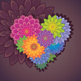 Flower heart shape. Valentine card design Stock Photo