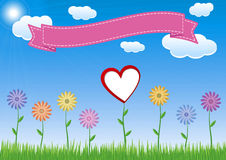Flower with heart, sky and ribbon. Illustration Stock Photo
