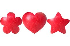 Flower, heart and star shaped halves of apple Stock Images