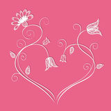 Flower heart with swirls Royalty Free Stock Image