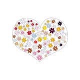 Flower heart on white background. Multicolored flowers arranged in shape of heart. Vector illustration Stock Image