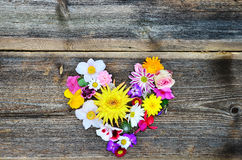 Flower heart on wood Royalty Free Stock Photo
