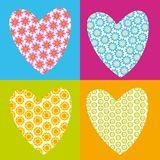 Flower hearts. Illustration of four hearts with flower's texture in coloured background Stock Photo