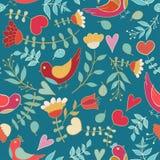 Flower, hearts, birds seamless Royalty Free Stock Image