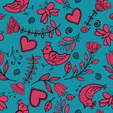 Flower, hearts, birds seamless Stock Images