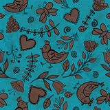 Flower, hearts, birds seamless Royalty Free Stock Photos