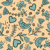 Flower, hearts, birds seamless Royalty Free Stock Images