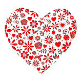 Flower Hearts Red Cutout Stock Images