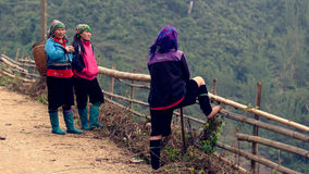 Flower Hmong and Black Hmong women. Vietnamese Flower Hmong and Black Hmong women on a path by a wooden railing, Sapa Valley, Vietnam stock photography