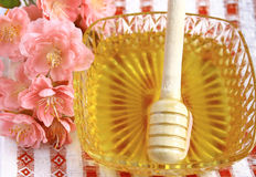 Flower honey. On a colored background Stock Images