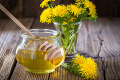 Flower honey in a glass jar and dandelions Stock Photography