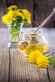 Flower honey in a glass jar and dandelions Royalty Free Stock Image
