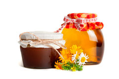 Flower honey in the pot Stock Images